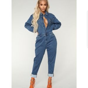 Fashion Nova oversized denim jumpsuit